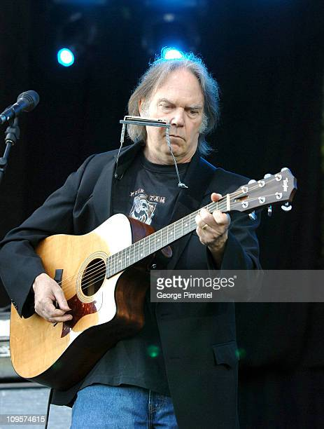 Neil Young Leads The Finale during LIVE 8 Canada Show at Park Place in Barrie Ontario Canada