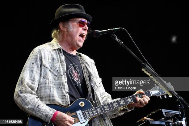 Neil Young performs as part of a historic double bill with Bob Dylan at Hyde Park on July 12, 2019 in London, England.