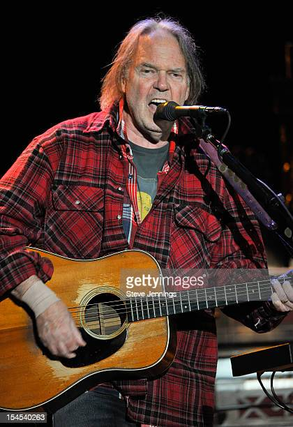 Neil Young performs at the 26th Annual Bridge School Benefit at Shoreline Amphitheatre on October 20, 2012 in Mountain View, California.
