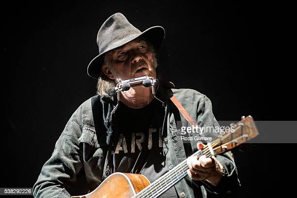 Neil Young performs at The SSE Hydro on June 5 2016 in Glasgow Scotland