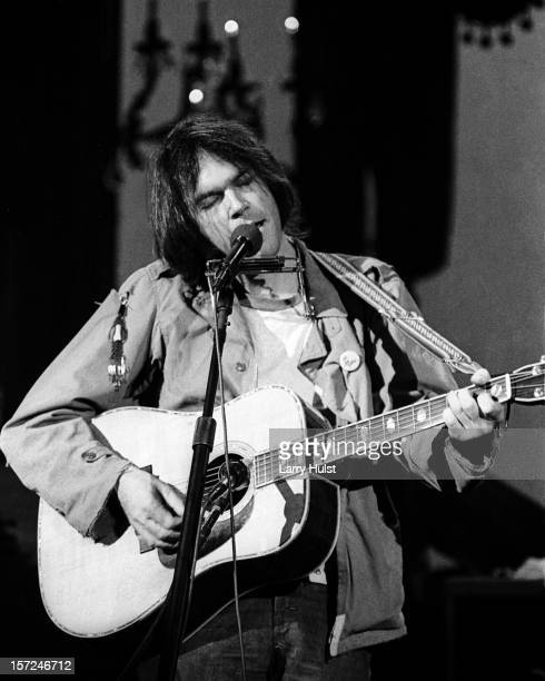 Neil Young performs at Winterland Auditorium in San Francisco California on November 25 1976