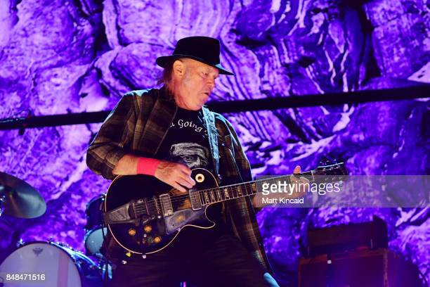 Neil Young performs during 2017 Farm Aid on September 16 2017 in Burgettstown Pennsylvania