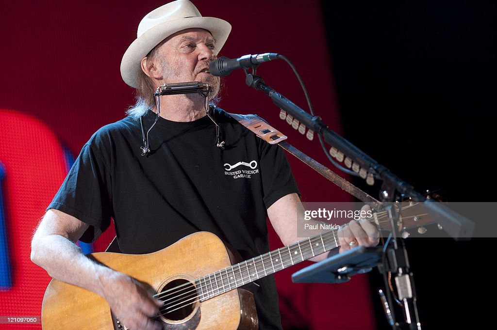 Neil Young performs during Farm Aid 2011 at the LiveStrong Sporting Park on August 13, 2011 in Kansas City, Kansas.