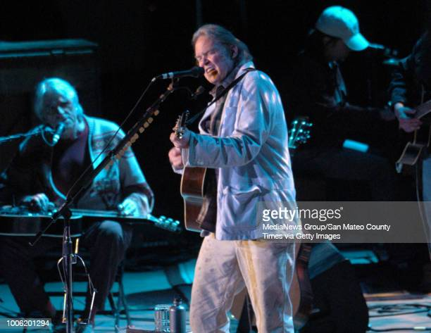 Neil Young performs during the Bridge School Benefit Concert Saturday October 27 at the Shoreline Amphitheatre in Mountain View Calif