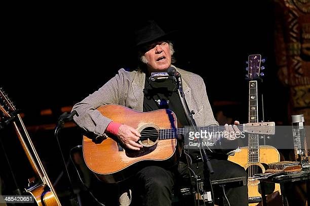 Neil Young performs in concert at the Meyerson Symphony Center on April 17 2014 in Dallas Texas