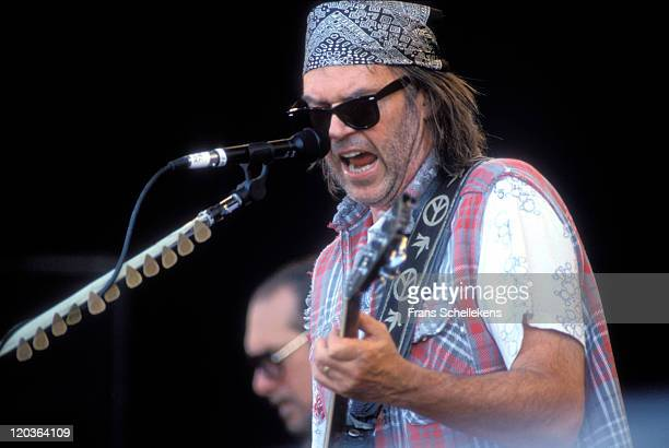 Neil Young performs live on stage at Torhout festival in Torhout, Belgium on 3rd July 1993.