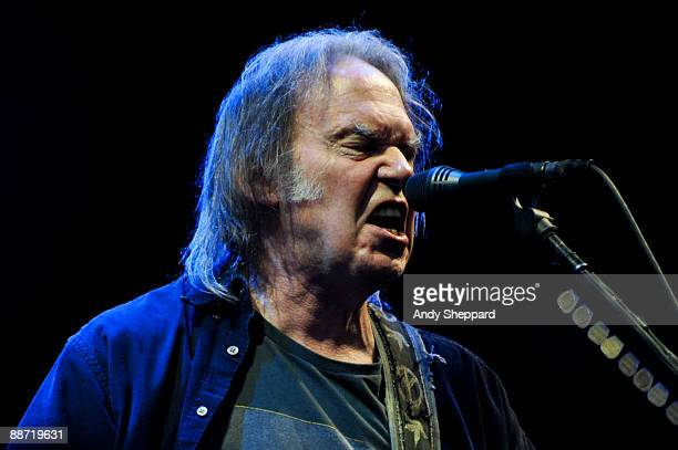 Neil Young performs on stage on day 2 of Hard Rock Calling 2009 in Hyde Park on June 27 2009 in London England