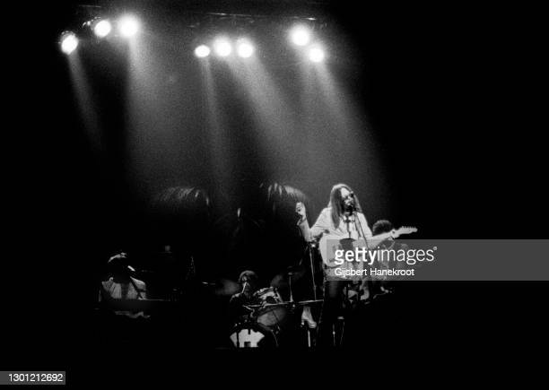 Neil Young performs on stage with The Santa Monica Flyers on Tonight's The Night, Rainbow Theatre, London, United Kingdom, 5th November 1973. L-R Ben...