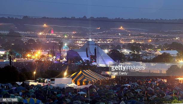 Neil Young performs on the main Pyramid Stage at the Glastonbury Festival at Worthy Farm Pilton on June 26 2009 in Glastonbury England