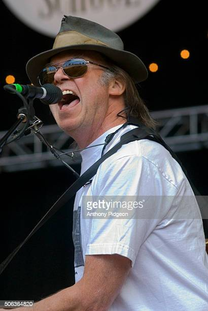 Neil Young performs onstage at The Bridge School Concert at Shoreline Amphitheater in Mountain View California USA on 21st October 2006
