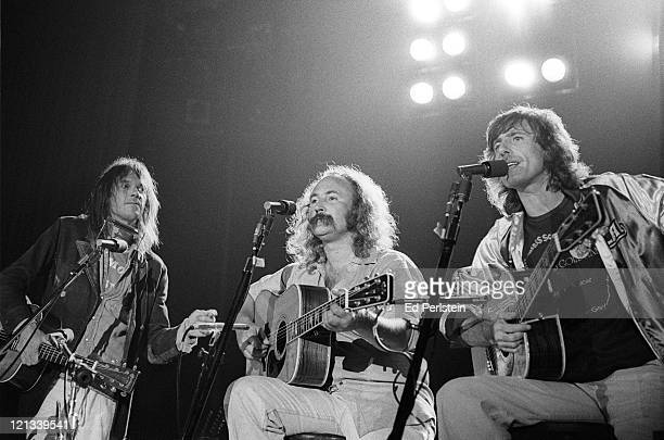 Neil Young performs with David Crosby and Graham Nash as their guest at the Santa Cruz Civic Auditorium in Santa Cruz, California - August 12, 1977