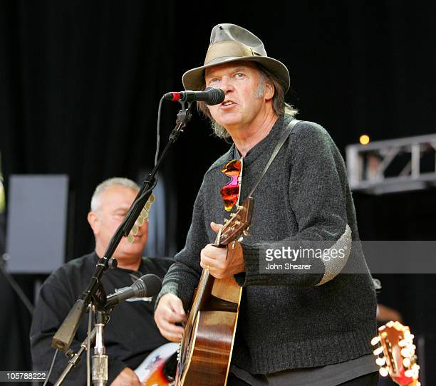 Neil Young performs with Los Lobos during 19th Annual Bridge School Benefit Concert Day Two at Shoreline Amphitheatre in Mountain View California...