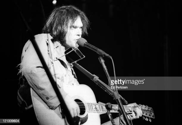 Neil Young performs with The Band during The Last Waltz at Winterland in November 1976 in San Francisco California