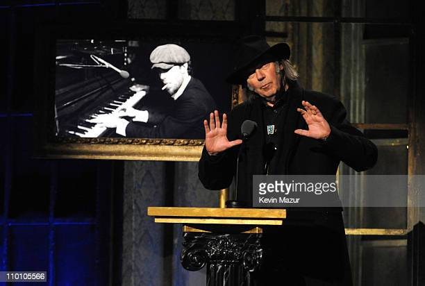 Neil Young speaks onstage at the 26th annual Rock and Roll Hall of Fame Induction Ceremony at The Waldorf=Astoria on March 14, 2011 in New York City.