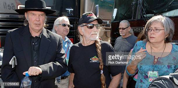 Neil Young Willie Nelson and Glenda Yoder during FARM AID 2005 Presented by SILK Soymilk at Tweeter Center in Tinley Park Illinois United States