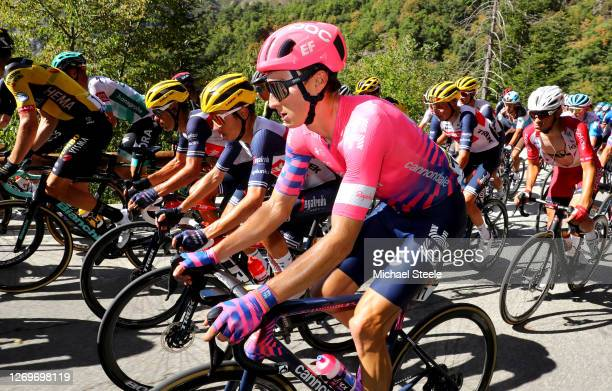 Neilson Powless of The United States and Team EF Pro Cycling / Kenny Elissonde of France and Team Trek - Segafredo / Richie Porte of Australia and...