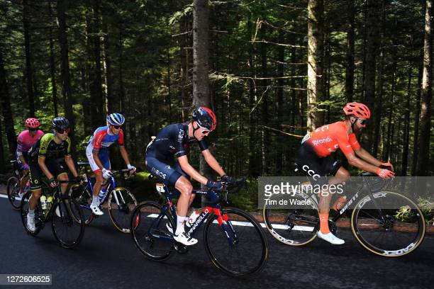Neilson Powless of The United States and Team EF Pro Cycling / Mikel Nieve Ituralde of Spain and Team Mitchelton - Scott / Romain Sicard of France...