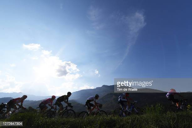 Neilson Powless of The United States and Team EF Pro Cycling / Mikel Nieve Ituralde of Spain and Team Mitchelton - Scott / Tiesj Benoot of Belgium...