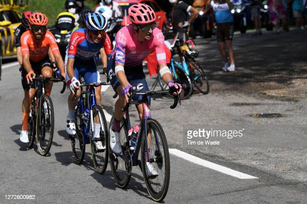 Neilson Powless of The United States and Team EF Pro Cycling / Romain Sicard of France and Team Total Direct Energie / Simon Geschke of Germany and...