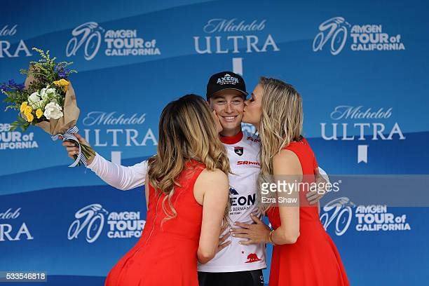 Neilson Powless of the United States riding for Axeon Hagens Berman Cycling Team is awarded the best young rider jersey for the Amgen Tour of...