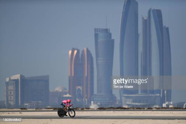 Neilson Powless of United States and Team EF Education-Nippo during the 3rd UAE Tour 2021, Stage 2 a 13km Individual Time Trial from Al Hudayriyat...