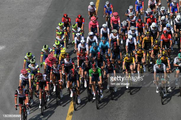 Neilson Powless of United States and Team EF Education-Nippo White Best Young Jersey, Filippo Ganna of Italy and Team INEOS Grenadiers Green Points...
