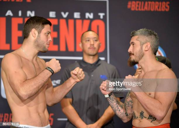 Neiman Gracie and Zak Bucia pose for photos at the weighin Neiman Gracie will be challenging Zak Bucia in a Welterweight bout on October 19 2017 at...