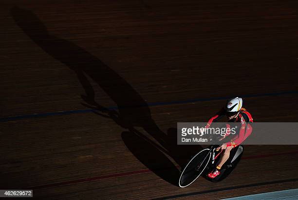 Neira Perez Cesar of Spain competes in the Male C45 1000m Time Trial final during the Newport Paracycling International at the Newport International...