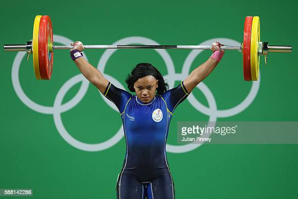 Neisi Patricia Dajomes Barrera of Ecuador lifts during the Women's 69kg Group B weightlifting contest on Day 5 of the Rio 2016 Olympic Games at...