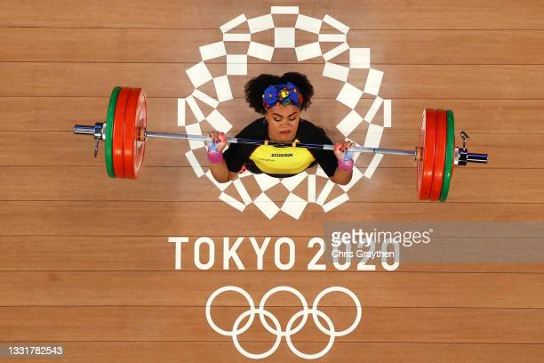 Neisi Patricia Dajomes Barrera of Team Ecuador competes during the Weightlifting - Women's 76kg Group A on day nine of the Tokyo 2020 Olympic Games...