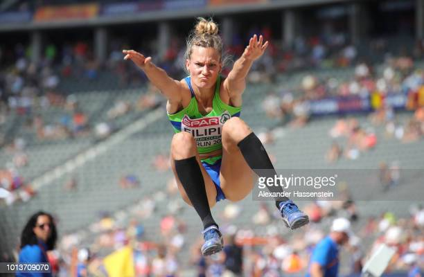 Neja Filipic of Slovenia competes in the Women's Long Jump qualification during day three of the 24th European Athletics Championships at...
