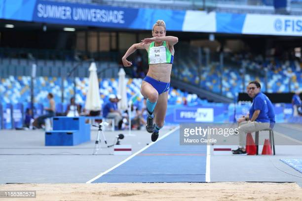 Neja Flipic of Slovenia during the final stages of athletics for the 2019 Universiade in the specialty of Triple Jump at San Paolo stadium in Naples