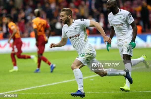 Nejc Skubic of Atiker Konyaspor celebrates after scoring a goal during a Turkish Super Lig soccer match between Galatasaray and Atiker Konyaspor at...