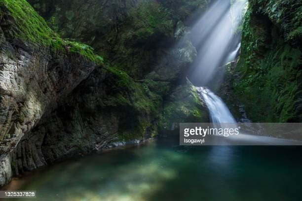 nejire-no-taki falls with rays of sunlight - isogawyi stock pictures, royalty-free photos & images