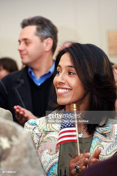 Nejma Hauggara Banks originally from Algeria was one of 100 new US citizens were sworn in on Friday morning at the New York Historical Society