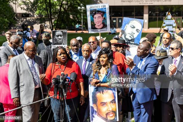 Nekima Levy Armstrong, Local Civil rights lawyer and activist flanked by Members of the George Floyd family, Al Sharpton, the founder and President...