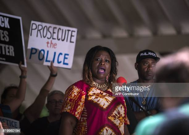 Nekima LevyPounds speaks at a march to honor the life of Justine Damond on July 20 2017 in Minneapolis Minnesota Several days of demonstrations have...