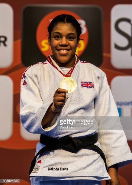 Nekoda Smythe-Davis of Great Britain poses with her U57kg gold medal during the 2018 Dusseldorf Grand Slam at the ISS Dome on February 23, 2018...