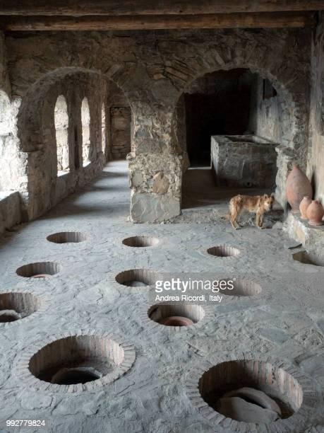 nekresi monastery complex : old wine cellars. kakheti region, georgia - georgië zuidelijke kaukasus stockfoto's en -beelden