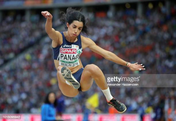 Nektaria Panagi of Authorised Neutral Athletes competes in the Women's Long Jump Final during day five of the 24th European Athletics Championships...