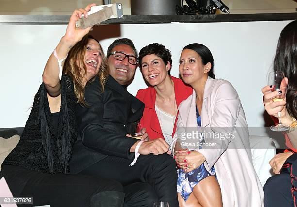 Nela Koenig Mousse T Jasmin Gerat and Minh Khai Phan Thi take a selfie during the Marc Cain fashion show fall/winter 2017 VIP Cocktail 'Ballet...