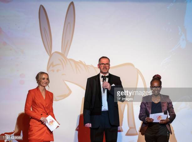 Nele Schenker Prof Dr Heinz Reinders and Shary Reeves look on during the Lotte Price 2019 on November 8 2019 in Wuerzburg Germany
