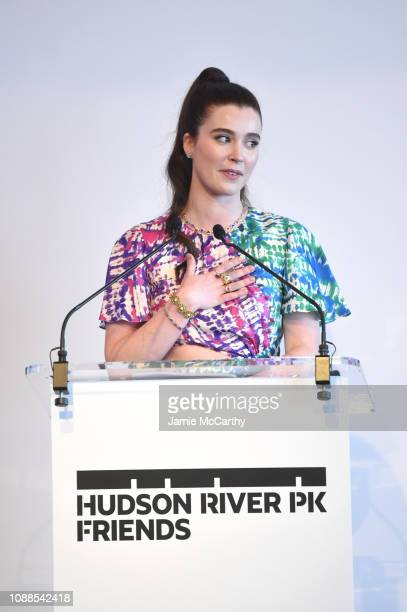 Nell Diamond speaks on stage as she attends Hudson River Park Friends Playground Committee Fourth Annual Luncheon at Current at Chelsea Piers on...