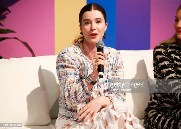 """Nell Diamond speaks on stage during """"The Female Frontier"""" panel discussion during POPSUGAR Play/Ground at Pier 94 on June 23, 2019 in New York City."""