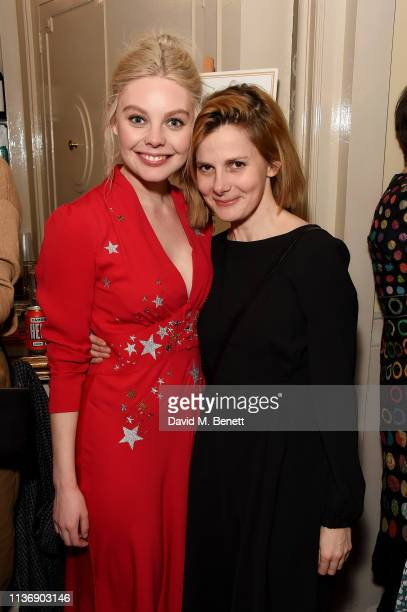 Nell Hudson and Louise Brealey attend a special performance of 'Emilia' celebrating trailblazing women at Vaudeville Theatre on March 19 2019 in...