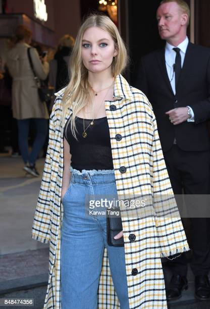 Nell Hudson arrives for the TOPSHOP Fashion show during London Fashion Week September 2017 on September 17 2017 in London England