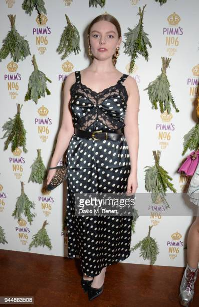 Nell Hudson attends the Pimm's No6 Vodka Cup official launch party at 12 Golden Square on April 11 2018 in London England Pimm's No6 and oysters...