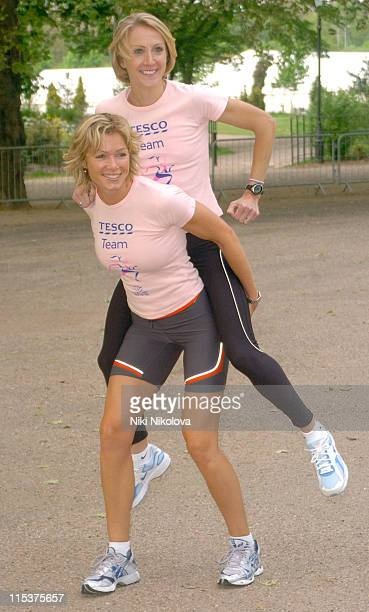 Nell McAndrew and Paula Radcliffe during Cancer Research UK's 'Race for Life 2005' Photocall at Battersea Park in London Great Britain