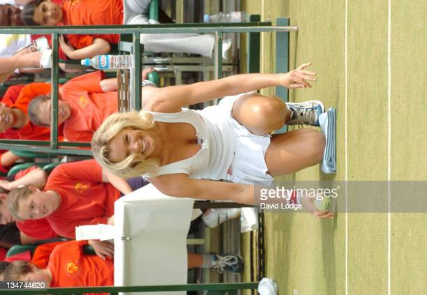 Nell McAndrew during Ariel Tennis Ace ID Day Celebrity Finals at Wimbledon Park Tennis Courts in London Great Britain
