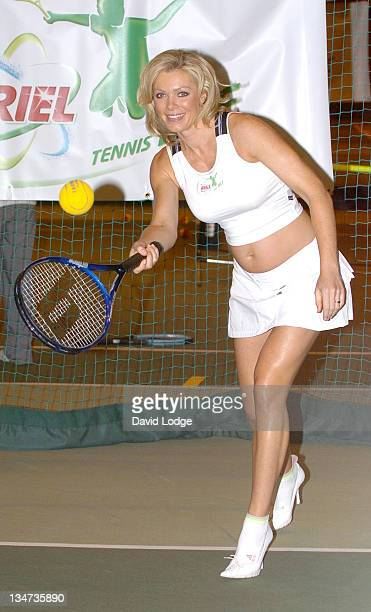 Nell McAndrew during Ariel Tennis Ace Launch Photocall at David Lloyd Sports Centre in Hounslow Great Britain